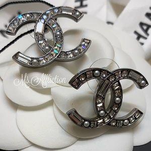 CHANEL NEW! Crystal CC Earrings *Rare* XL Silver